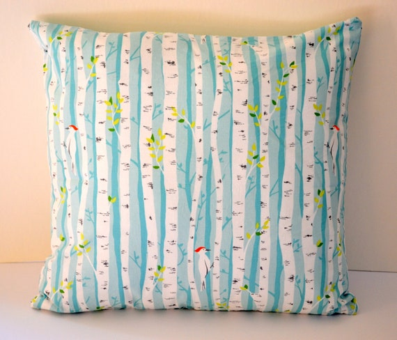 Beautiful Birchwood Forest Pillow Cover by Back Yard Baby, fits 16x16 Pillow Form with Hidden Zipper