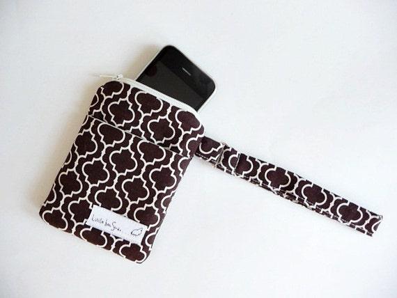 iPhone Smart Phone Cell/Small Gadget Pouch - Fabric Mini Purse Wristlet - Kaufman Metro Living Tile - Gift under 20 Stocking Stuffer