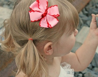 Pink and Red Hair Bow - Pink and Red Moonstitch Bow - Valentine's Day Pinwheel Bow