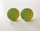 Fabric Button Earrings/Clip on earrings -  Lime and Black dots