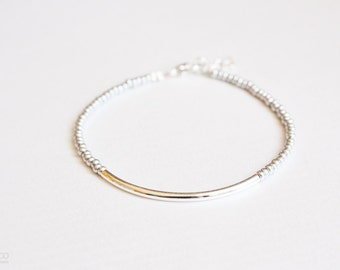silver bar - friendship bracelet -  minimalist jewelry / christmas gift for her
