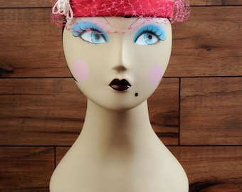 Vintage pink hat with veil and beads