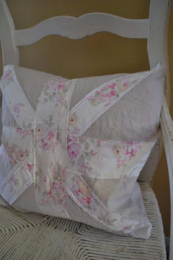 Shabby Chic Union Jack Pillow : Shabby Chic Union Jack Pillow