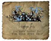 Etsy Shop Banner - Vintage Iris Set - banners, profile picture/avatar, reserved & special order