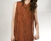 SILK Tank Top button up blouse long tunic dress style shirt
