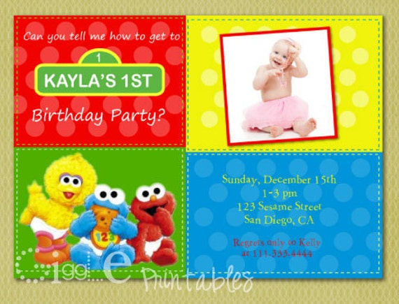 Sesame Street 1st Birthday Invitation – Sesame Street 1st Birthday Invitations