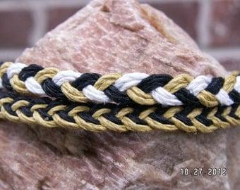 NEW ORLEANS SAINTS colors - black gold white - Braided Hemp Anklet or Bracelet Set of 2 - Hippie Surfer Jewelry for Men or Women