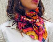 Vintage 100% silk  scarf - 70's psychedelic orange pattern