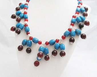 Red Jade Blue Turquoise Colored Agate Silver metal  Handmade OOAK viking treasure chunky beaded necklace bohemian gypsy style SCA