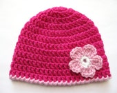 Instant Download PATTERN Crochet PREEMIE Hat Crochet Pink Flower 8ply DK Double Knit Light Worsted Edge