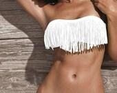 MEDIUM Snow White Fringe Bikini