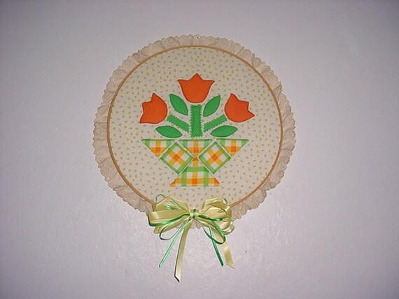 Vintage embroidery hoop wall hanging