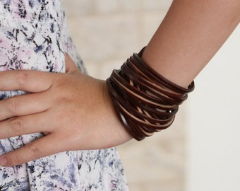 Genuine Leather Wrap Bracelet. Multi-strand Real Leather Cuff. Stacked Sliced Leather Bangle Bracelets Wide Double Wrap Bracelets B001A
