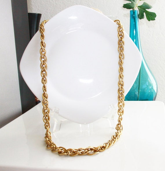 Vintage Designer Chain - Thick Gold Tone Monet Signed Designer Jewelry