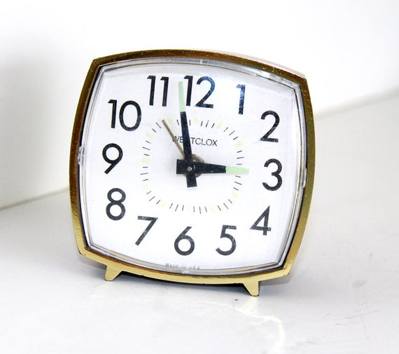 Wind Up Alarm Clock - Square Westclox Clock Mechanical - Vintage Retro - Made in USA - Gold Wood
