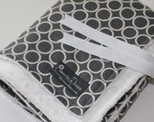 Baby Blanket with Stroller Ties, Metro Living Circles by Robert Kaufman and White Dot Minky