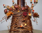 Ready To Ship * Twig Grapevine Candle Holder w /Brown Pumpkin Candlering & Twig Woodsy Candle