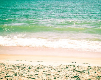 Beach wall art Digital Download photo Ocean Waves photograph Beach decor Seascape photo beige green Coastal art