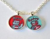 Best Robots Necklace - 2 pendant