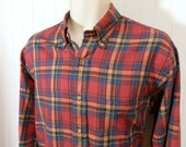 Eagle Shirtmakers Madras Light weight plaid shirt made for Peller & Mure Made in USA 100% cotton