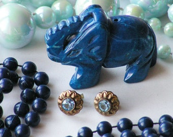 Lot of Blue Vintage Jewelry --  Lapis Lazuli Elephant