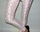 Made to order Pink Leggings, light pastel shiny satin floral tights, pastel leggings in pink, satin floral tights for women on etsy