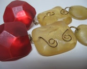FUNKY CHUNKY - HUGE Post Earrings in Red and Yellow Plastic Resin - Vintage Hand Made