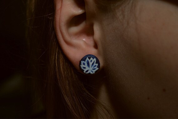 Blue and White Lotus Flower Polymer Clay Post Earrings