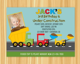 Construction Birthday Invitation | Construction Birthday Party Invitation | Construction Zone Party