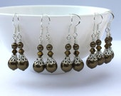 Earrings, 5x Swarovski Crystal and Pearl Earrings, 5 pair for Bridesmaids, Bridal Party, Sterling Silver
