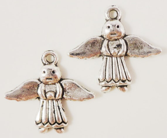 Silver Angel Charms 19x20mm Antique Silver Angel Pendants Religious Charms Christmas Charms, Holiday Charms, Metal Charms for Jewelry, 10pcs