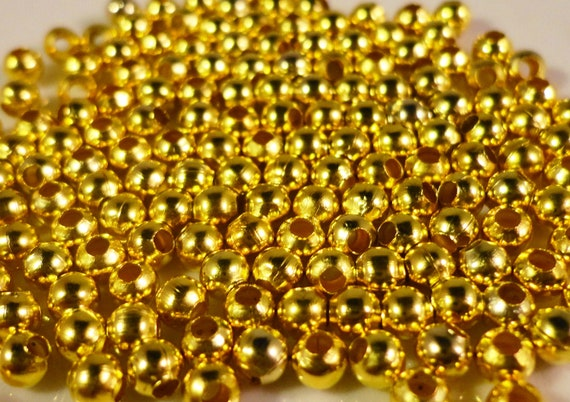 Gold Spacer Beads 3mm Round Gold Tone Metal Spacer Beads 150 Tiny Loose Beads per Pack