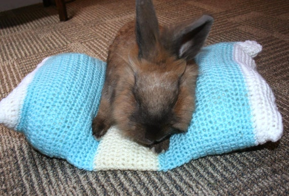 Bunny Hugger side by side bunny bed for a small sized rabbit hand knitted turquoise yellow and white
