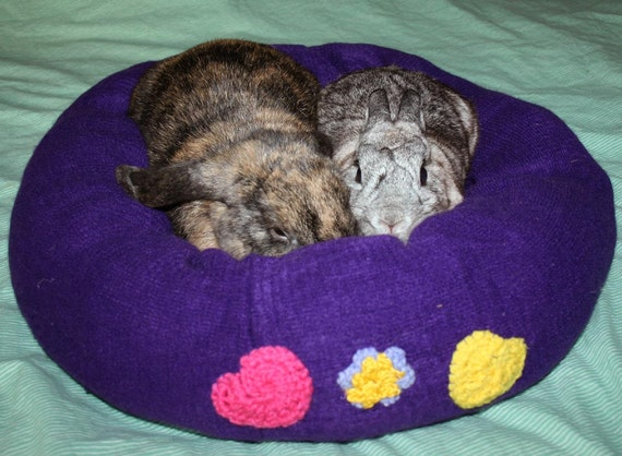 Ugli Donut bunny bed for a giant bunny cream deep purple with hand made hearts and flowers