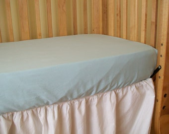Organic Cotton Fitted Crib Sheet, Aqua, Sateen, Organic Crib Sheet, Crib Sheet, Toddler Sheet, Organic Crib Bedding, Toddler Bedding