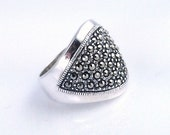 Vintage 1970s sterling silver & marcasite ring, cocktail, size 5.75, Thailand, THAI, signed