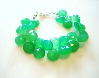 Ultramarine Green Chalcedony Cuff Bracelet