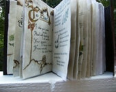 Wicca Journal  5X7 BOOK OF SHADOWS with vibrant colored wiccan pagan parchment pages scrap paged in with each page burt shadows