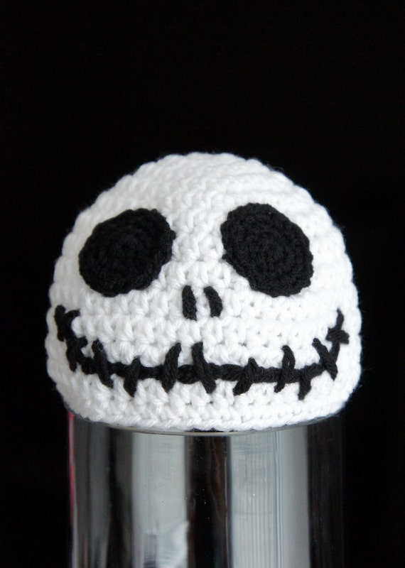 Jack Skellington Hat Knitting Pattern : Halloween Skull Hat Skeleton Head Hat Crochet by stylishbabyhats