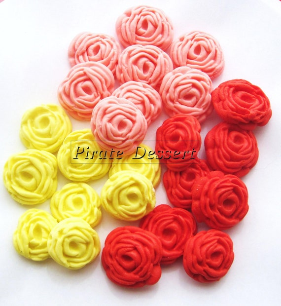 Assorted Sugar Flowers  Fondant Roses - 1 inch (25mm) - Edible cake decorations (Pink, Yellow and Red) (24 pieces)