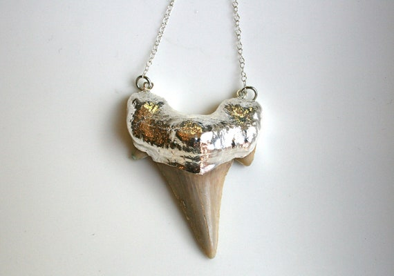 Large Silver Shark Tooth Necklace Double Connected to Sterling Silver Chain