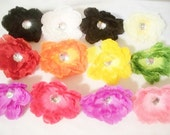 One Dozen Rhinestone Peony Silk Flower Heads For Floral Crafting Hair Clips Wholesale DIY Supply