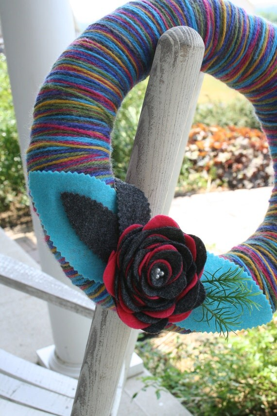 Yarn Wreath/Felt Flower