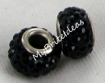 Two (2) 12mm Black Diamond Pave Beads 4mm Hole - Beads Jewelry Supplies Crafting Supplies Jewelry Making