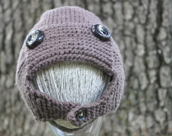 Organic Cotton Brown Aviator Hat - Size 3 Months