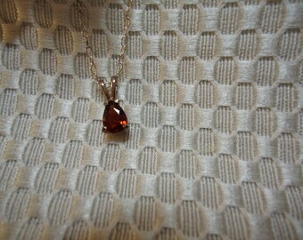 Pear cut Spessartite Garnet Necklace in Sterling Silver   #247