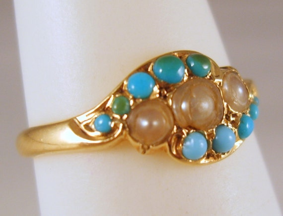 Antique Gold Ring, Seed Pearls and pave' set Persian Turquoise, 14 K antique gold, Victorian Ring