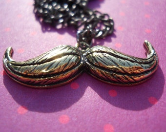 Antique Gold Mustache with Black Chain Necklace Pendant