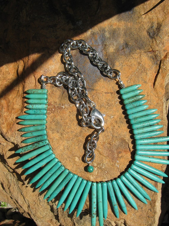Turquoise Spike - Bib Necklace