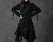 Black Swing Coat - Contemporary Unique Design Winter Jacket with Pixie Rag Hemline and Large Front Pocket (C795)